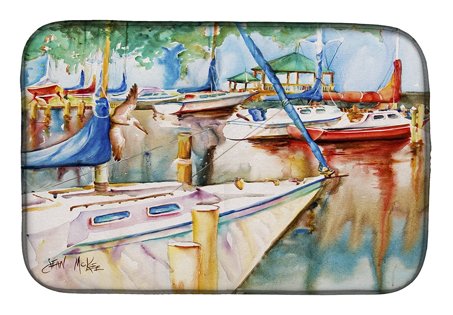 Caroline 's Treasures jmk1043ddm Sailboats At The Gazeboディッシュ乾燥マット、14 x 21、マルチカラー   B07BQBFXXT
