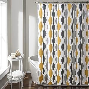 "Lush Decor Mid Century Geo Shower Curtain, 72"" x 72"", Gold & Gray"