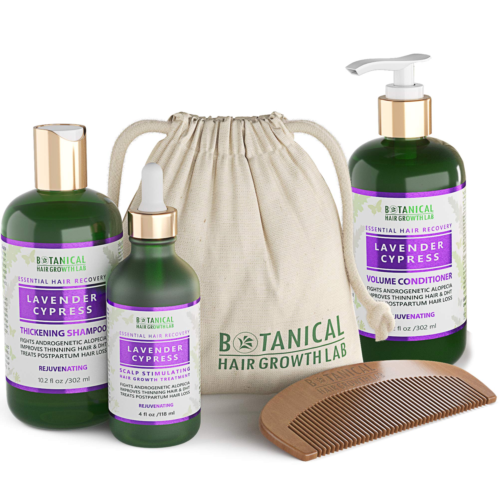 Anti Hair Loss Alopecia Postpartum DHT Blocker Scalp Treatment Shampoo and Conditioner 3 Pc Value Set Lavender - Cypress Hair Growth Botanical For Hair Thinning Prevention