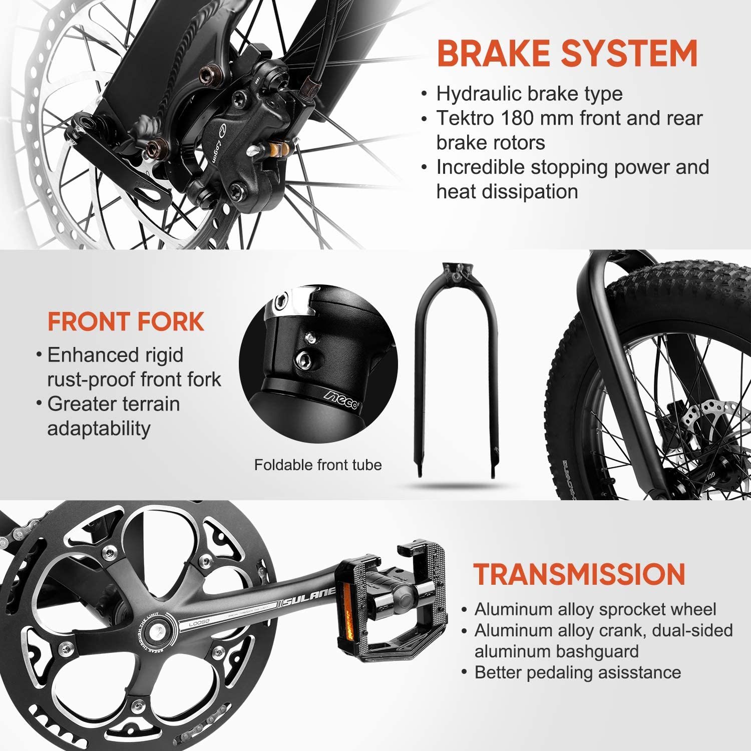 Eahora X6 Folding Electric Bicycle 48V 13Ah Electric Bike 20 Inch Snow Electric Bike Removable Lithium-ion Battery 350W Urban Commuter Ebike for ...