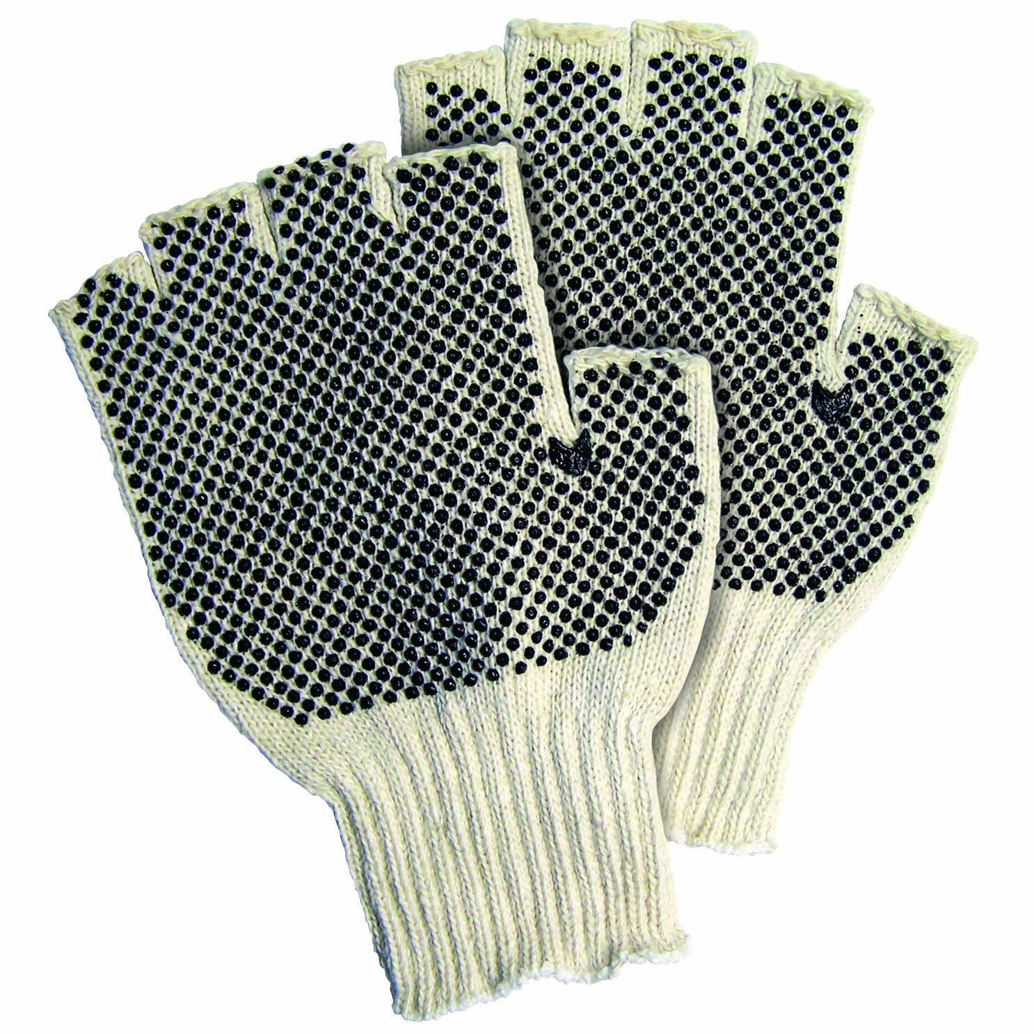 Aviditi GLV1023L Fingerless PVC Dot Knit Gloves, Large, White/Black (Case of 24) by Aviditi