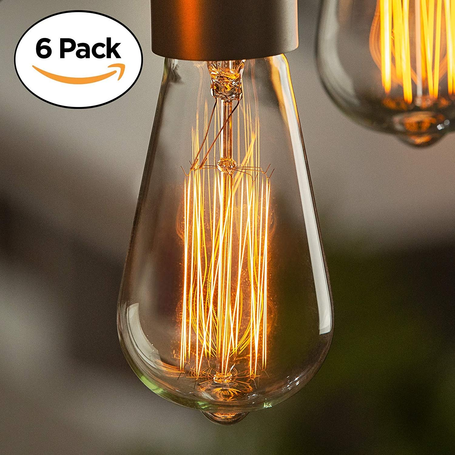 Details About Edison Bulb (6 Pack) | Vintage Incandescent Light Bulbs For Home  Office.