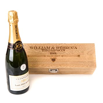 Personalised Engraved Oak Style Wooden Wine Gift Box Wedding Valentines Gift Lined With Woodwool Wine Not Included