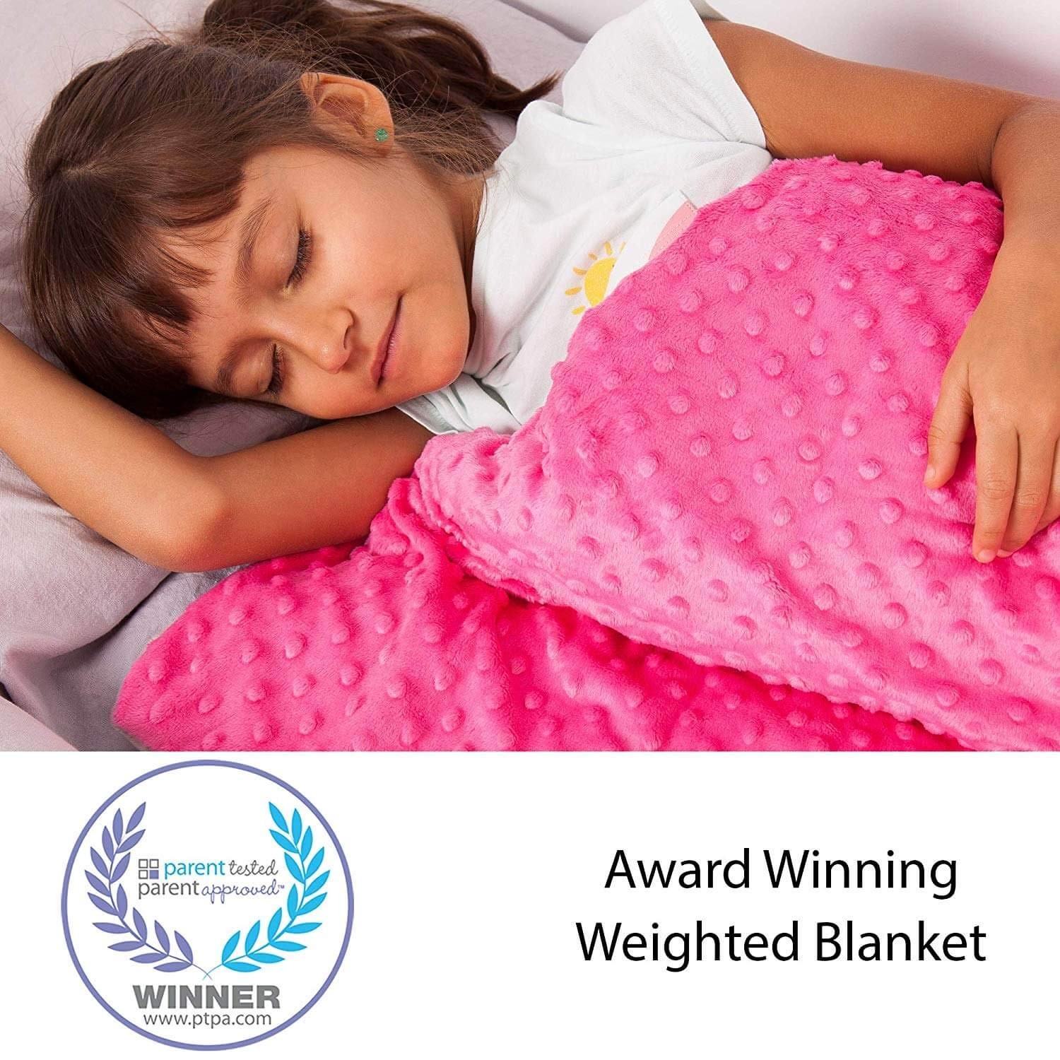 Supersoft 5 Lbs Calming Weighted Blanket for Kids - 36'' x 48'' Children Heavy Blanket for Sleeping with Minky Cover - Pink Kid Comfort Sensory Blankets for Girls by Hazli