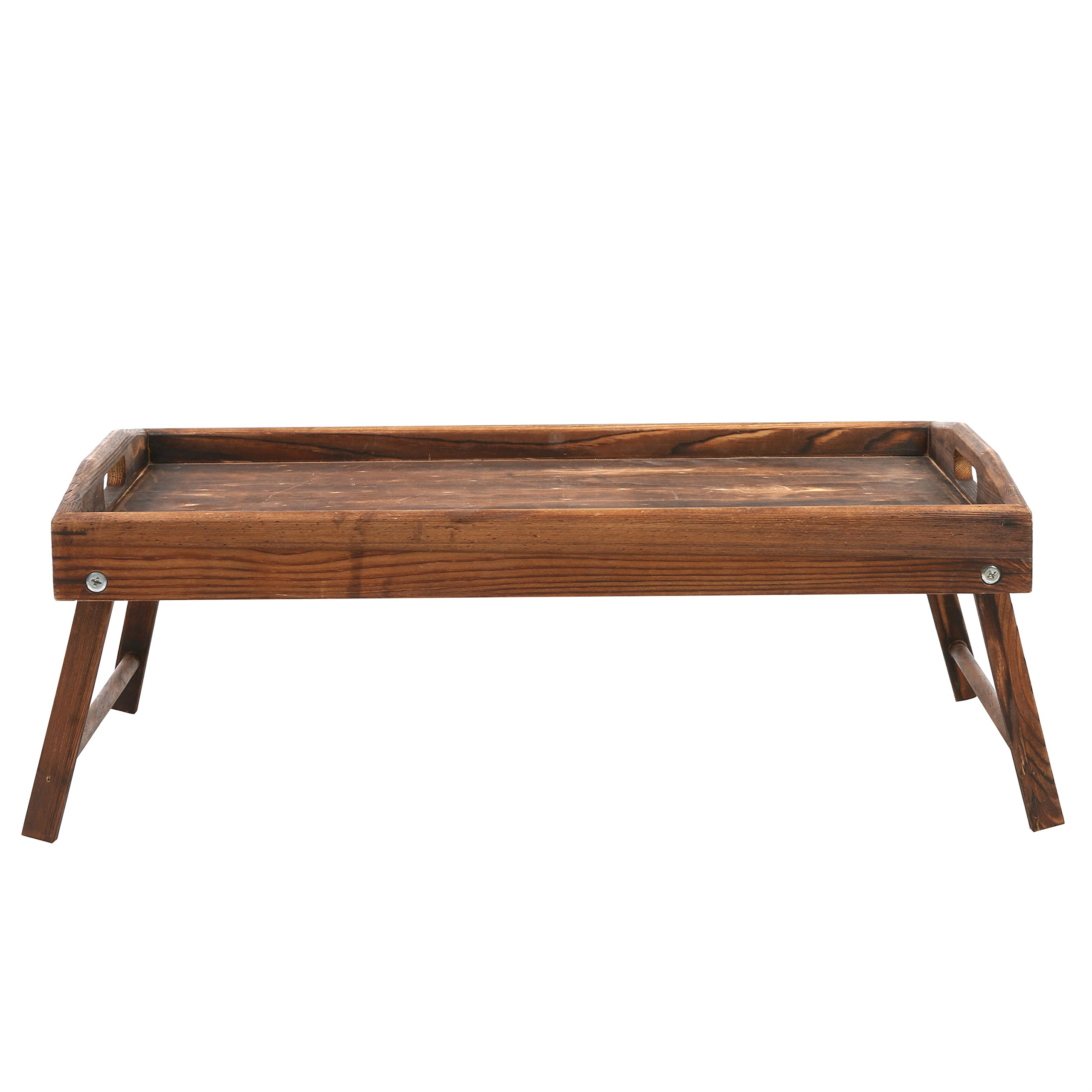 Country Rustic Torched Wood Food Serving Tray, Breakfast in Bed Table with Folding Legs by MyGift (Image #4)