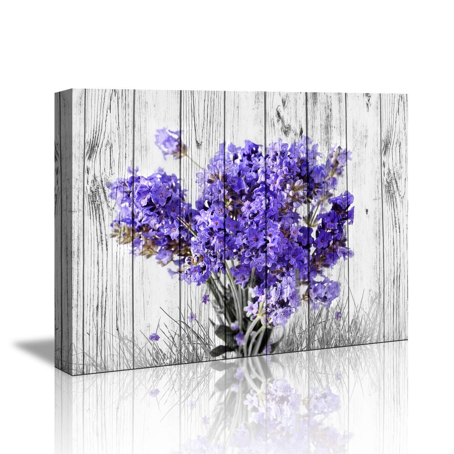 """Purple Lavender Wall Decor for Bedroom Rustic Home Decor Canvas Wall Art -12""""x16"""" Purple Lavender Flowers on Vintage Wood Background Modern Living Room/Bedroom Decoration Stretched and Ready to Hang"""