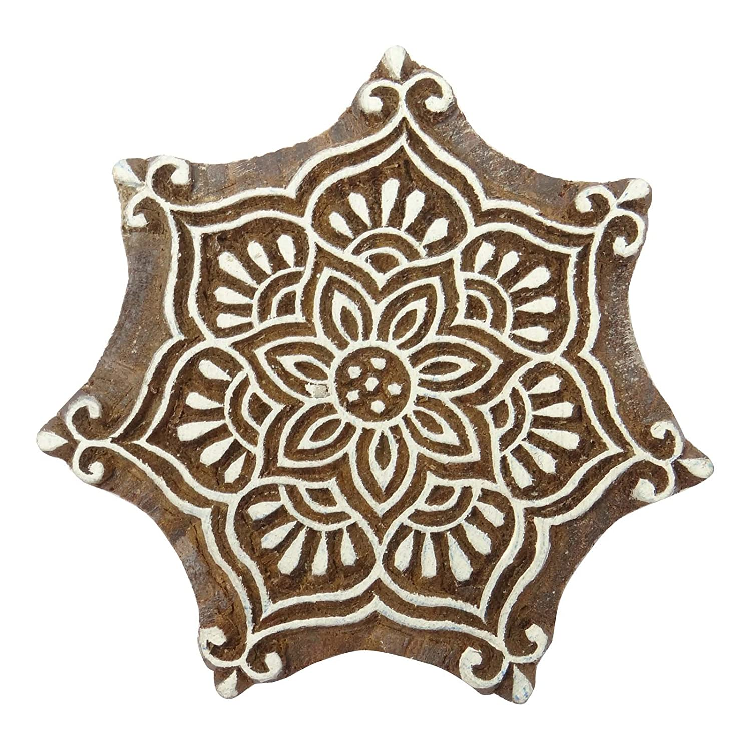 Decorative Floral Printing Blocks Wooden Hand Carved Block Indian Stamp Indianbeautifulart