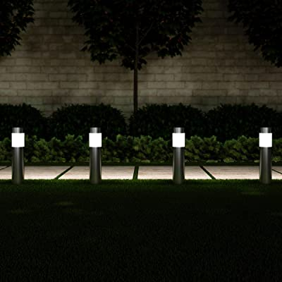 "Pure Garden 50-LG1062 Solar Path Bollard, Set of 6-15"" Stainless Steel Outdoor Stake Lighting for Garden Landscape, Yd, Driveway, Walkway (Silver) : Garden & Outdoor"