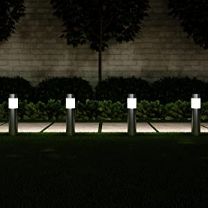 "Pure Garden 50-LG1062 Solar Path Bollard, Set of 6-15"" Stainless Steel Outdoor Stake Lighting for Garden Landscape, Yd, Driveway, Walkway (Silver)"