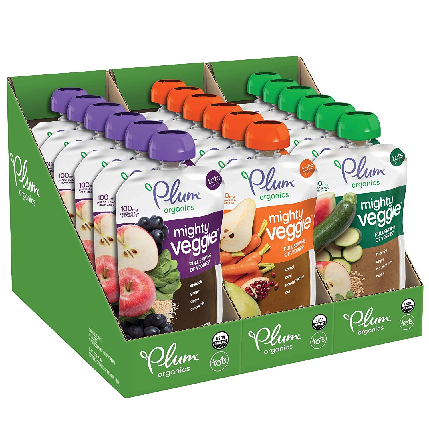 Plum Organics Mighty Veggie, Organic Toddler Food, 4 Pouch, Pack of 18, Multi Mighty Veggie Variety Pack, 72 Ounce