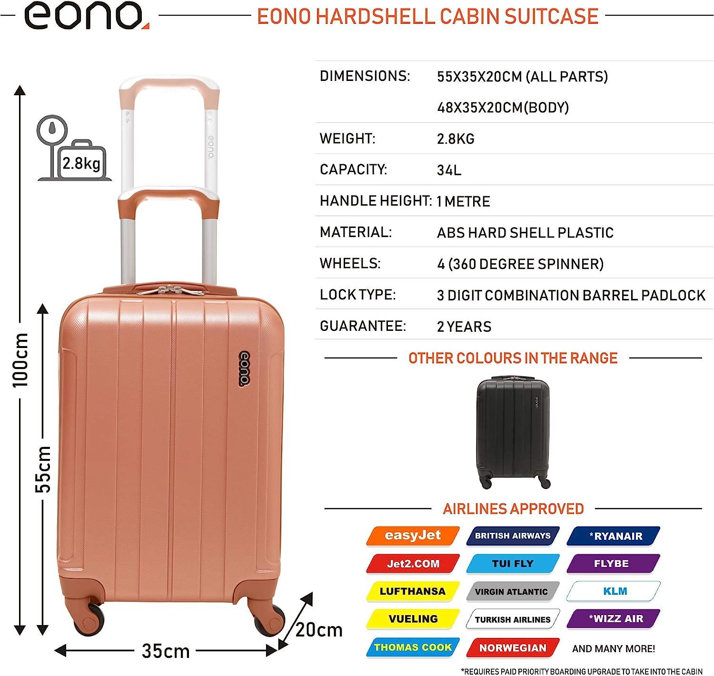 easyJet Flybe et Beaucoup Plus Virgin Atlantic Voyage Ultra-l/éger dABS de Coque Dure Superbe sur la Valise de Bagage /à Main de Cabine avec 4 Roues British Airways approuv/é pour Ryanair