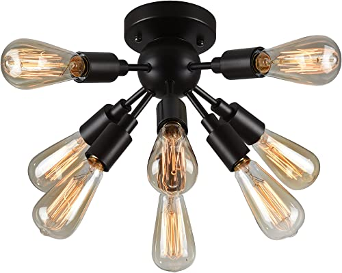 Warehouse of Tiffany C1706-8 Juvan 8-Light Ceiling Lamp Antique Bronze Includes 8 Ediison Bulbs, Black