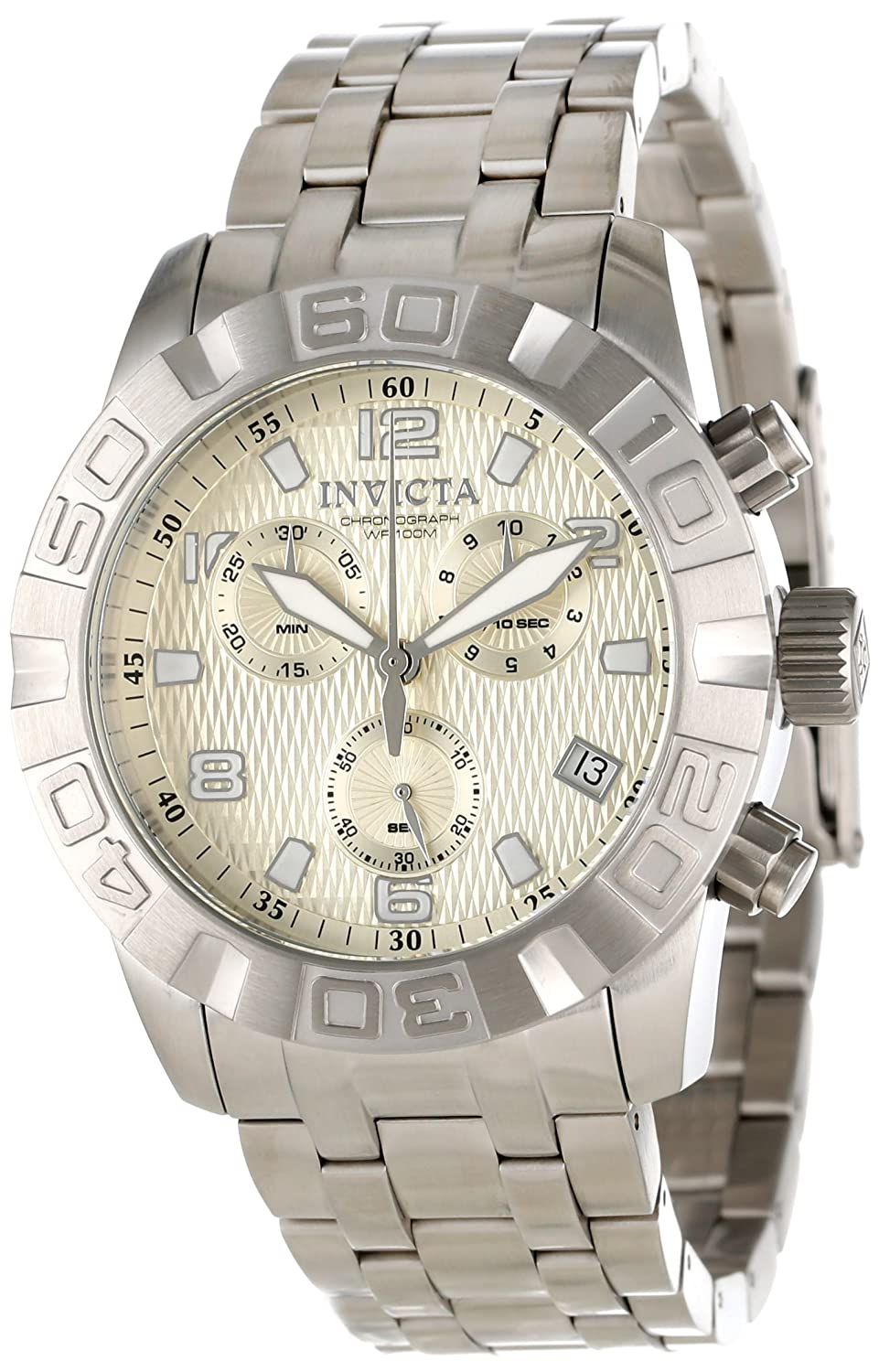 Invicta Men s 11457 Pro Diver Chronograph Light Gold Tone Textured Dial Stainless Steel Watch