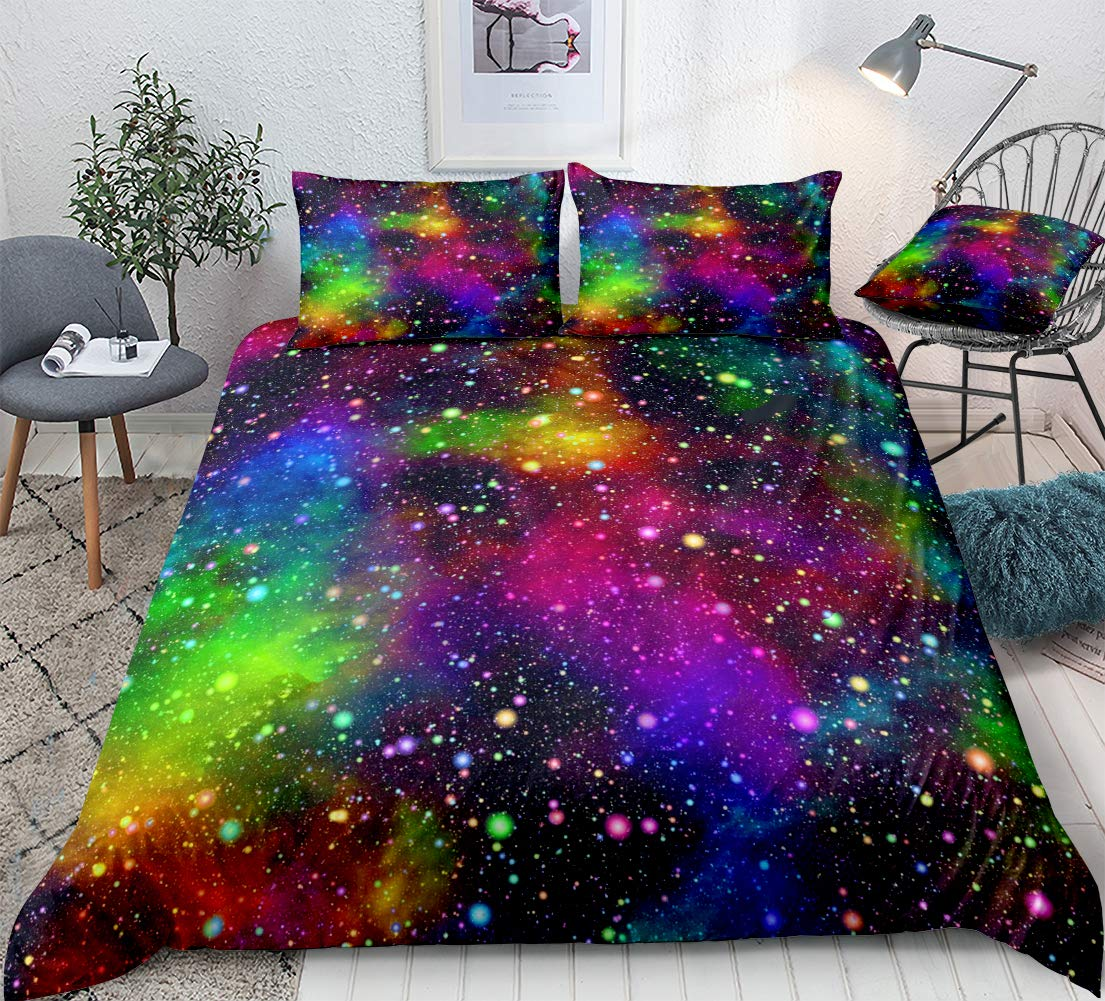 Colorful Galaxy Bedding Rainbow Space Duvet Cover Set Universe Nebula Night Starry Sky in Rainbow Colors Kids Boys Girls Quilt Cover Queen (90x90) 1 Duvet Cover 2 Pillowcases (Colorful, Queen)