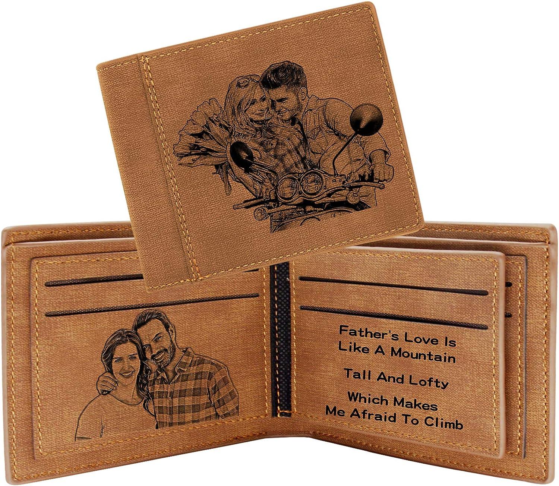 Aolun Billetera Personalizada Hombre,RFID Wallet,Billeteras Personalizadas Foto para Dia Del Padre Regalos