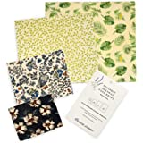 Beeswax Food Wraps | Reusable, Eco Friendly Alternative | 4 Pack (S, M, L, XL) | 100% Cotton and All Natural Ingredients | Sustainable, Environmentally Friendly | Great For Kids School Lunches and Covering Food in Containers