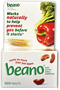 Beano Food Enzyme Dietary Supplement Tablets, 100-Count Bottles, (Pack of 2)