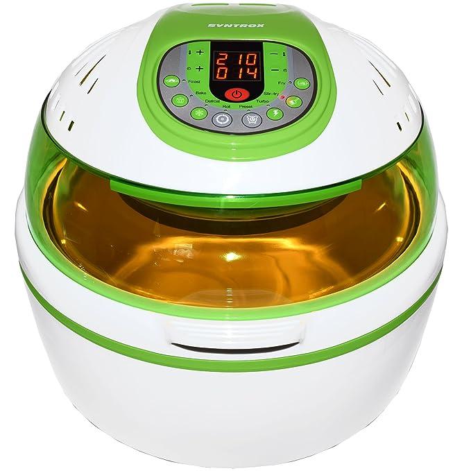 ... de aire caliente Aire Caliente vaporizador freidora Air de Fryer con pantalla LED, volumen 10 litros, libre de grasa Freír, Verde: Amazon.es: Hogar