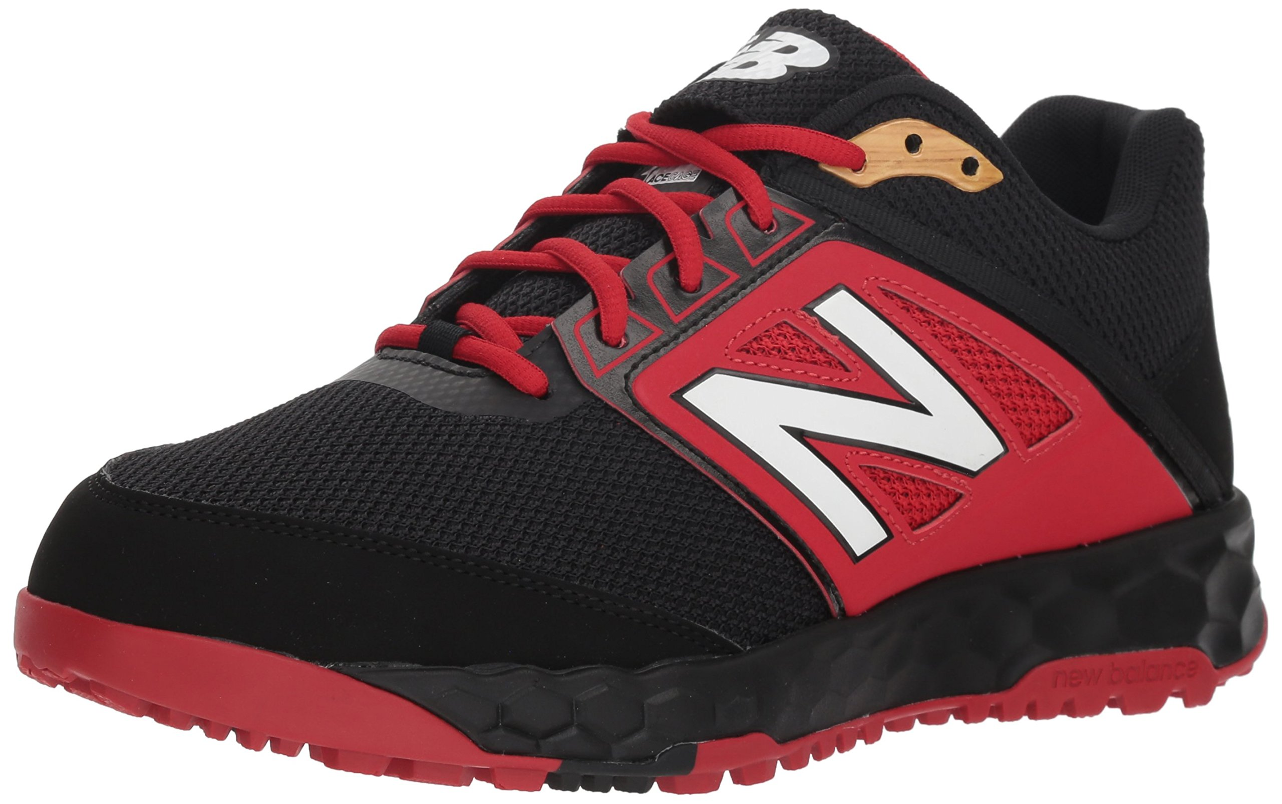 New Balance Men's 3000v4 Turf Baseball Shoe, Black/red, 5 D US