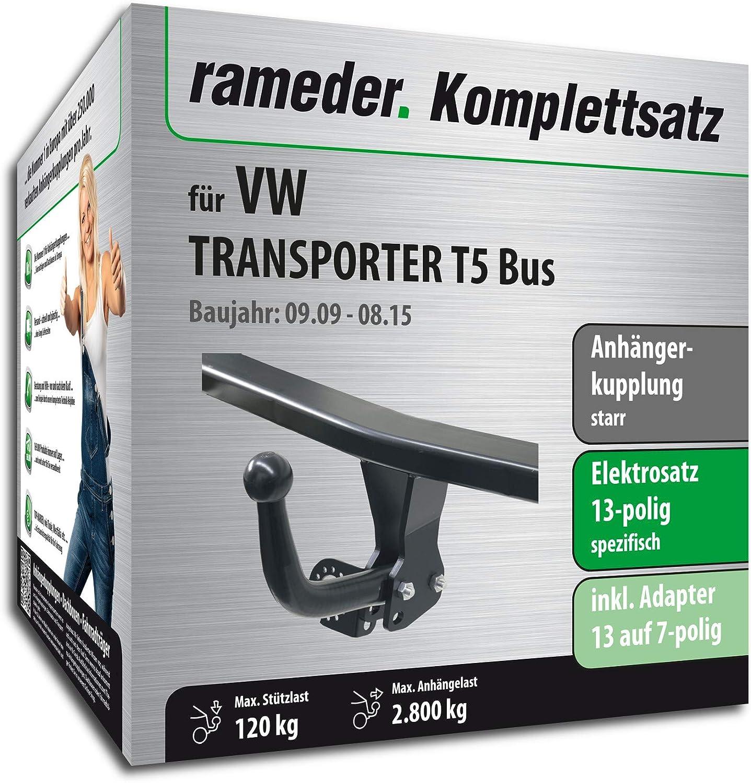 Rameder Komplettsatz 112607-05005-1 13pol Elektrik f/ür VW Transporter T5 Bus Anh/ängerkupplung starr