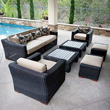 rst brands opperes08ek resort collection 8piece deep seating rattan patio - Rst Brands