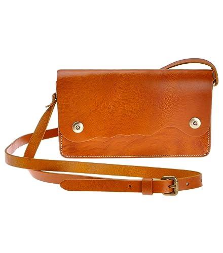 960b6f170ce ZLYC Women Handmade Vegetable Tanned Leather Wave Shape Design Mini  Shoulder Bag, Brown