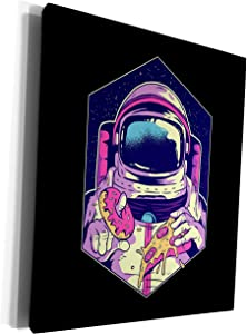 3dRose Sven Herkenrath Fantasy - Illustration Design with Astronaut and Pizza Food Sweet - Museum Grade Canvas Wrap (cw_306912_1)