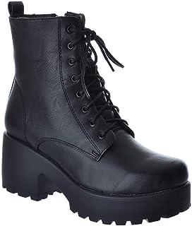 21442197f79 Miss Image UK Womens Ladies Army Combat Low MID Block Heel Platform LACE UP  Zip Biker