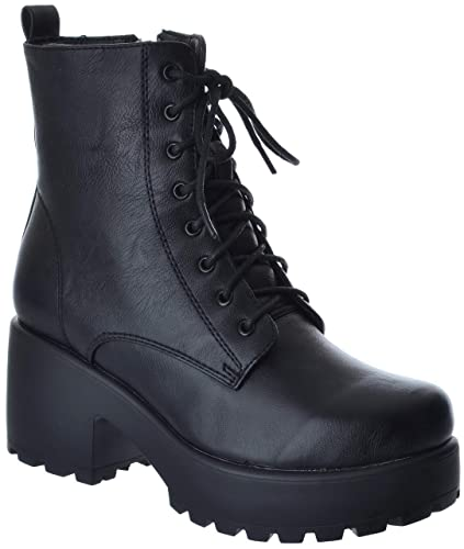 size 40 latest discount thoughts on Miss Image UK Womens Ladies Army Combat Low MID Block Heel Platform LACE UP  Zip Biker Platform Chunky Ankle Boots Shoes