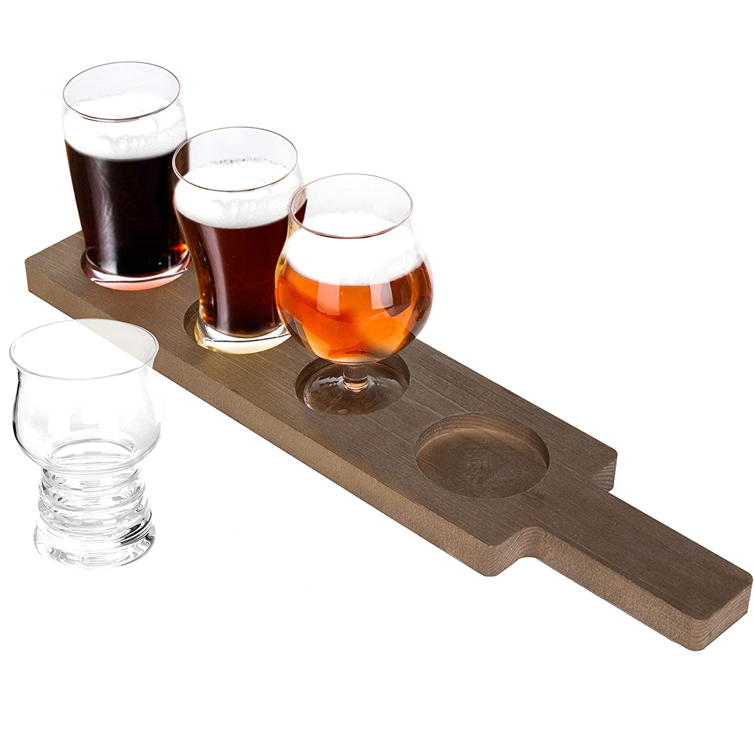 Mygift 5 Piece Variety Craft Beer Tasting Flight Set With 4 Glasses Wood Paddle Serving Tray