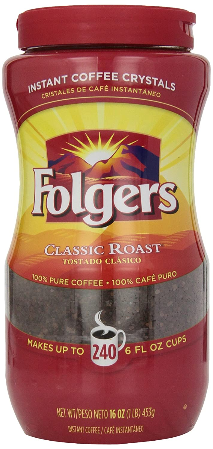 Folgers Instant Coffee Crystals, Classic Roast, 16 Ounce Folgers 06922