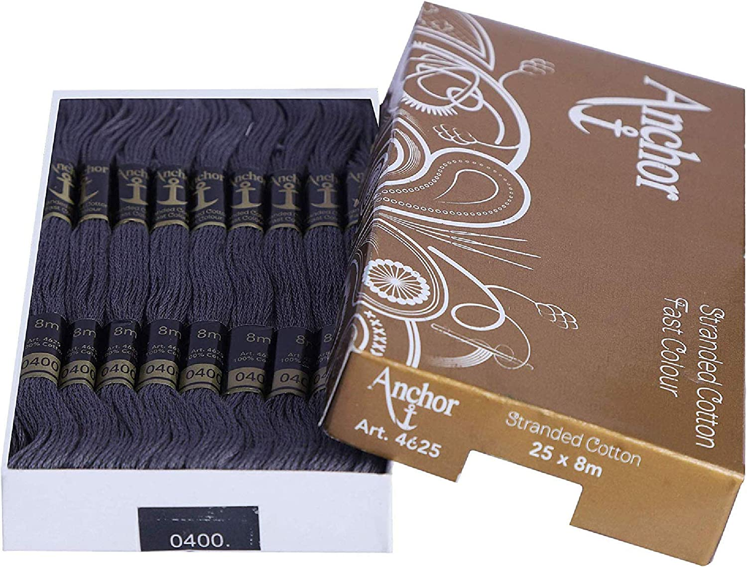 Blue/_1575 Pack of 25 Skeins Anchor Cotton Threads Beautiful Embroidery 8 m Each Skeins