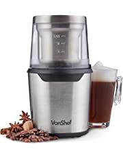 VonShef Coffee Grinder – Grind Espresso Beans, Nuts & Spices with Powerful 150 Watt Motor & Tough Stainless Steel Blades