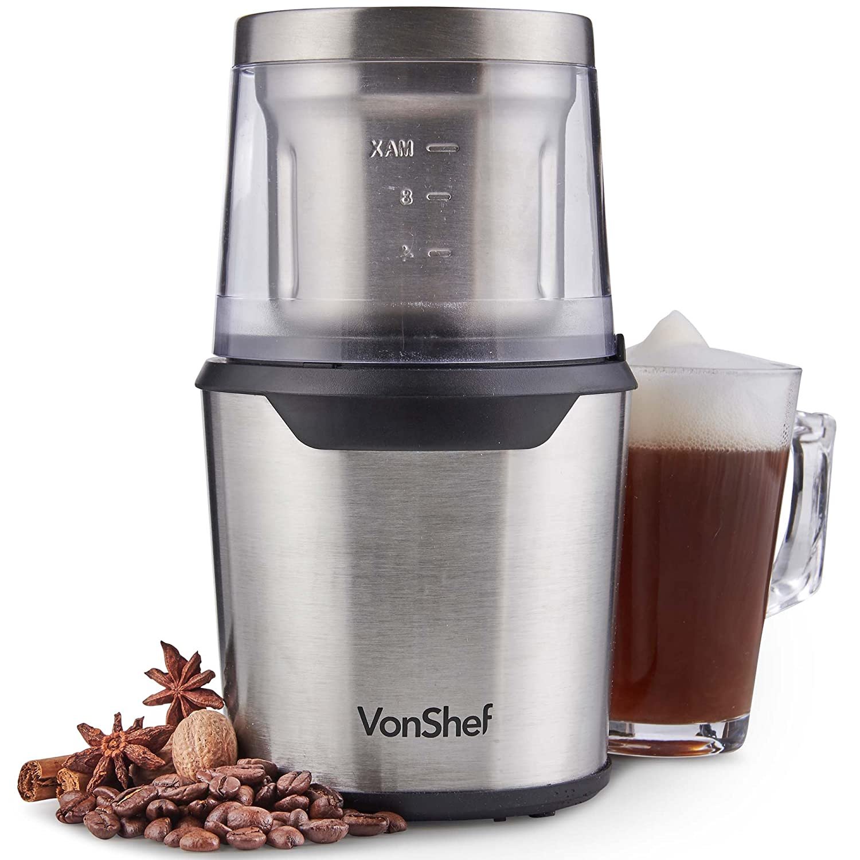 VonShefコーヒーグラインダー - コーヒー豆、スパイス&ナッツのための1つのステンレス鋼刃に付き200W 2   B07F91JX8P