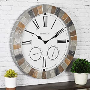 "FirsTime & Co. Garden Stone Outdoor Wall Clock, 18"", Faux Slate"