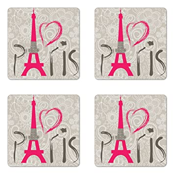 Eiffel Tower Coaster Set Of Four By Lunarable Paris Lettering QuotI Love Parisquot