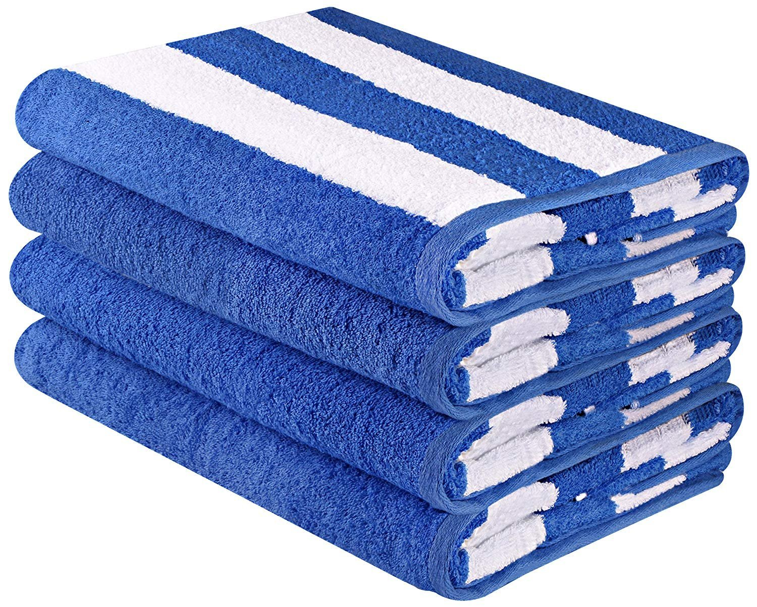 Large Beach Towel, Pool Towel, in Cabana Stripe - (Blue, 4 pack, 30x60 inches) - Cotton - by Utopia Towel Utopia Towels UT0073