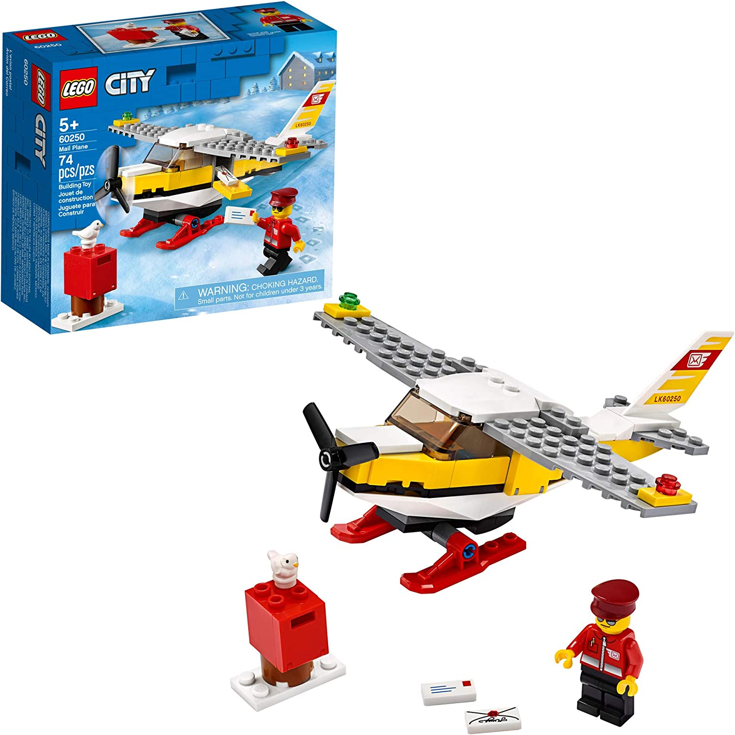 LEGO City Mail Plane 60250 Pretend-Play Toy, Fun Building Set for Kids, New 2020 (74 Pieces)