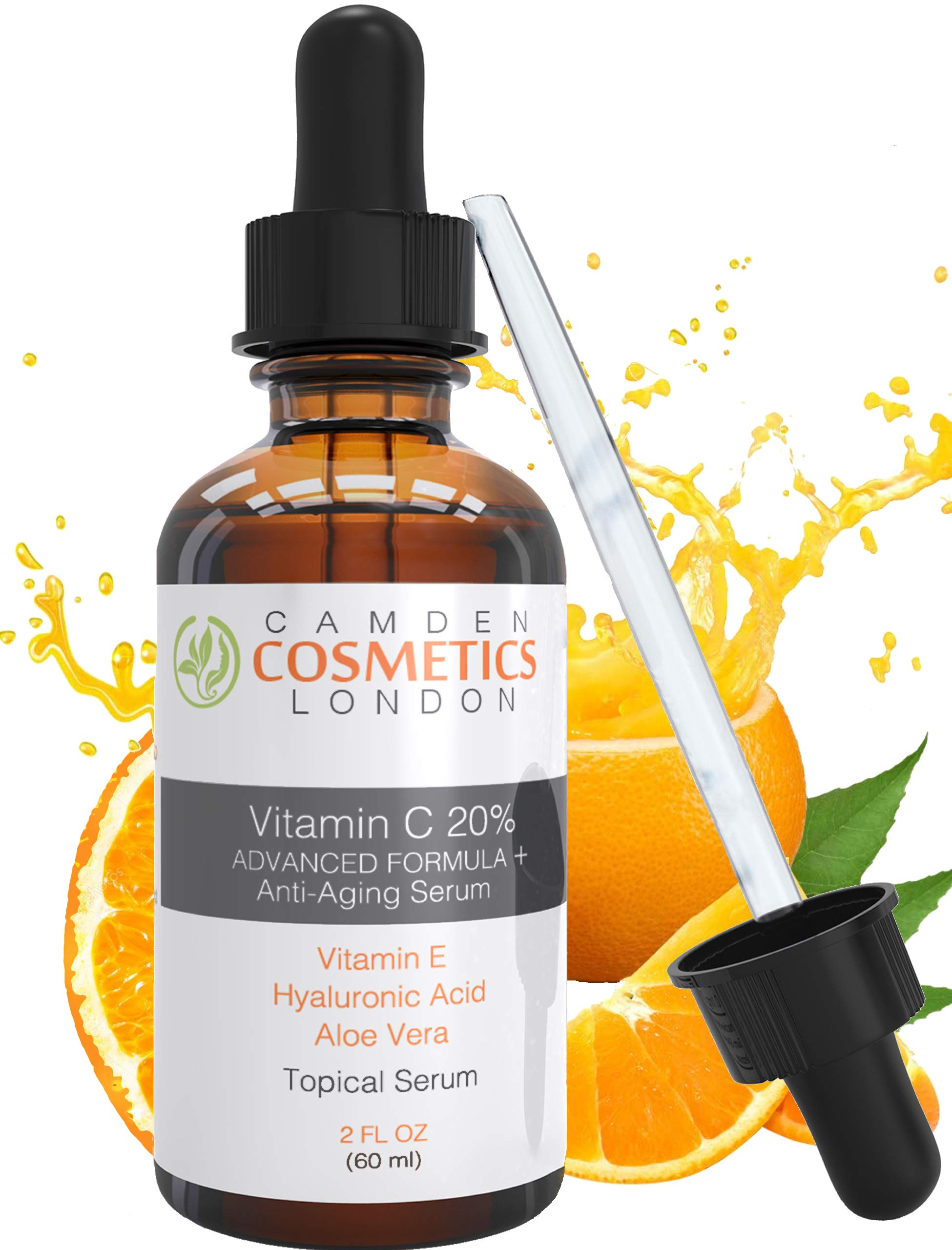 Vitamin C Serum For Face With Hyaluronic Acid + Vitamin E + Aloe Vera - LARGE 60ml Bottle By CAMDEN COSMETICS™ - Men/Women - 2oz Clinical Strength 20% Vitamin C Serum With Hyaluronic Acid: Most Recommended Premium Anti Ageing Serum for Increased Collagen Production & Less Fine Lines, Dark Spots & Wrinkles - 98% Natural Age Defying Serum with Organic Clinical Strength 20% Vitamin C + Moisturiser - Vitamin C Serum Vegan - Vitamin C Serum for Acne Scars, Plump, Hydrate, Brighten Skin, Makeup Primer
