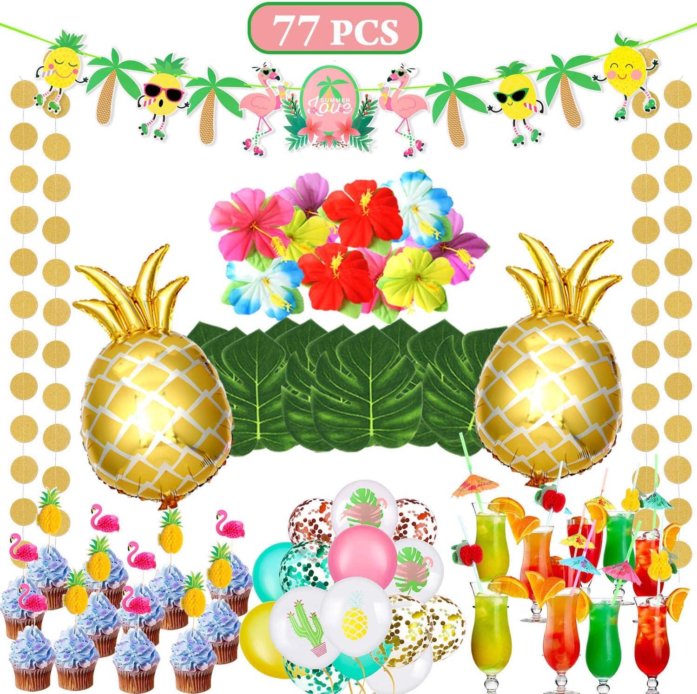 vamei 77 Piezas Aloha Hawaiano Decoración de Fiesta Verano Tropical Fiesta Aloha Banner Tropical Palm Leaves Piña Globo Cake Topper Pajas de Beber Látex Luau Fiesta Hawaiana Decoracion