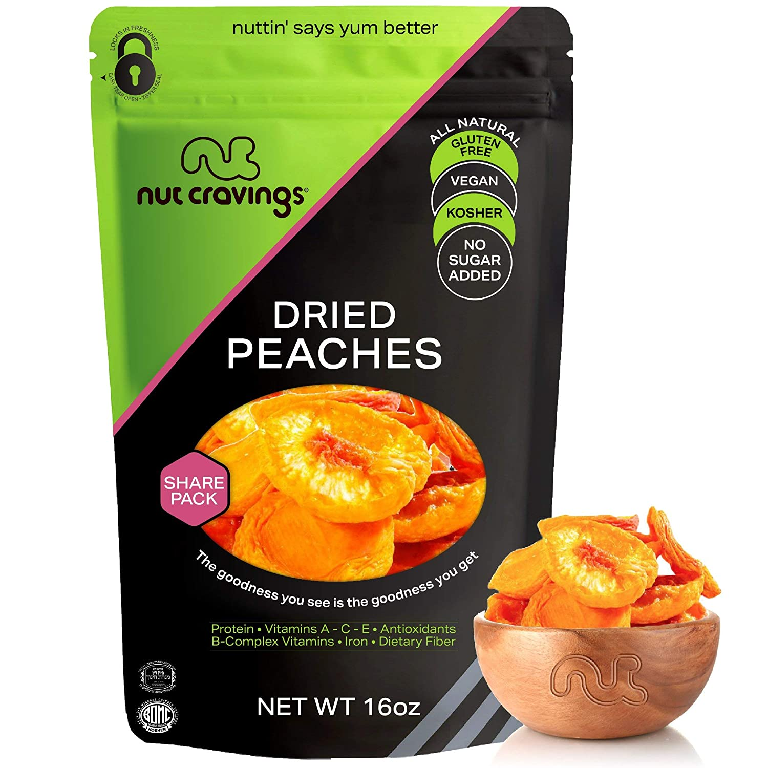 Sun Dried California Peaches, (16oz - 1 Pound) Packed Fresh in Resealable Bag - Sweet Dehydrated Fruit Treat, Trail Mix Snack - Healthy Food, All Natural, Vegan, Gluten Free, Kosher