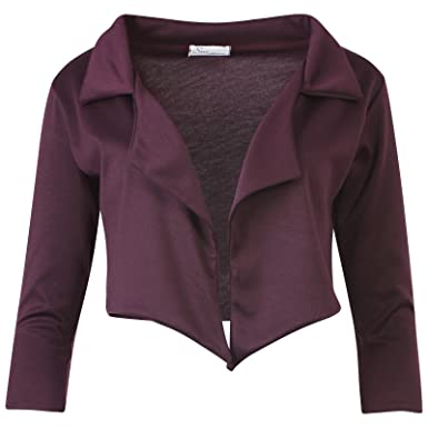Womens Waterfall Cropped Open Short Blazer Cropped Jacket Black ...