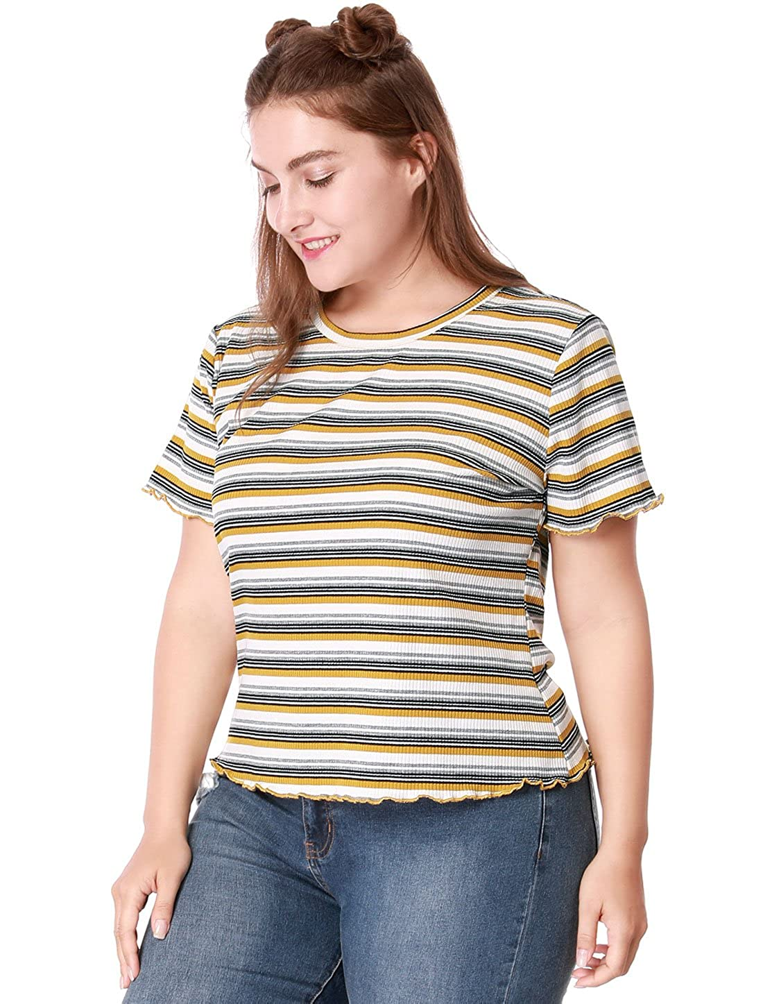 aaf11cff Agnes Orinda Women's Plus Size Short Sleeve Stretch Striped Summer T-Shirt  at Amazon Women's Clothing store:
