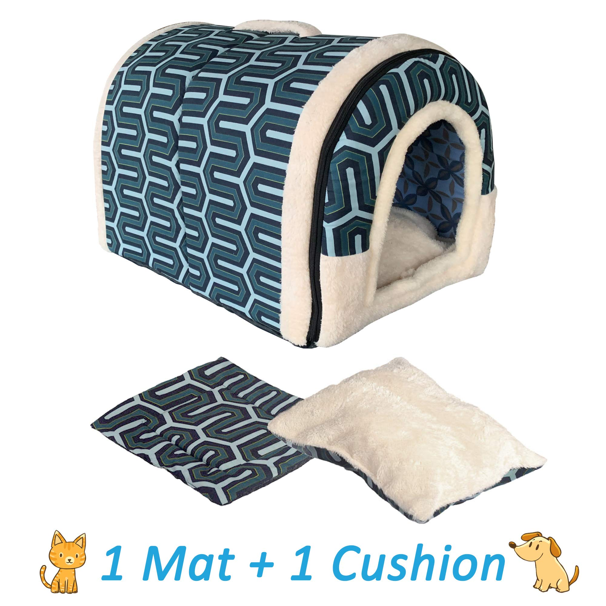 ANPPEX Igloo Dog House, Portable Cat Igloo Bed with Removable Cushion, 2 In 1 Washable Cozy Dog Igloo Bed Cat Cave, Foldable Non-Slip Warm for Pets Puppy Kitten Rabbit