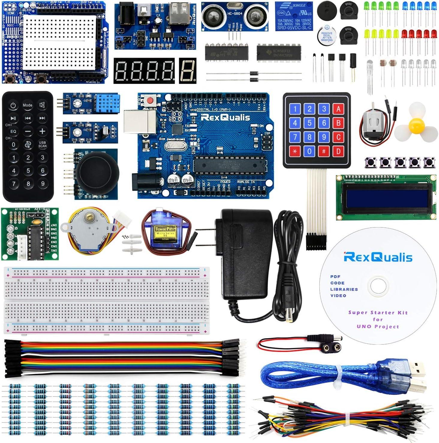 REXQualis UNO Project Super Starter Kit con Tutorial y UNO R3 Compatible con Arduino IDE: Amazon.es: Electrónica