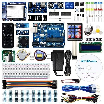 UNO Project Super Starter Kit for Arduino w/ UNO R3 Development Board,  LCD1602, Membrane Switch, Servo, Stepper Motor, Joystick, Power Supply  Adapter,
