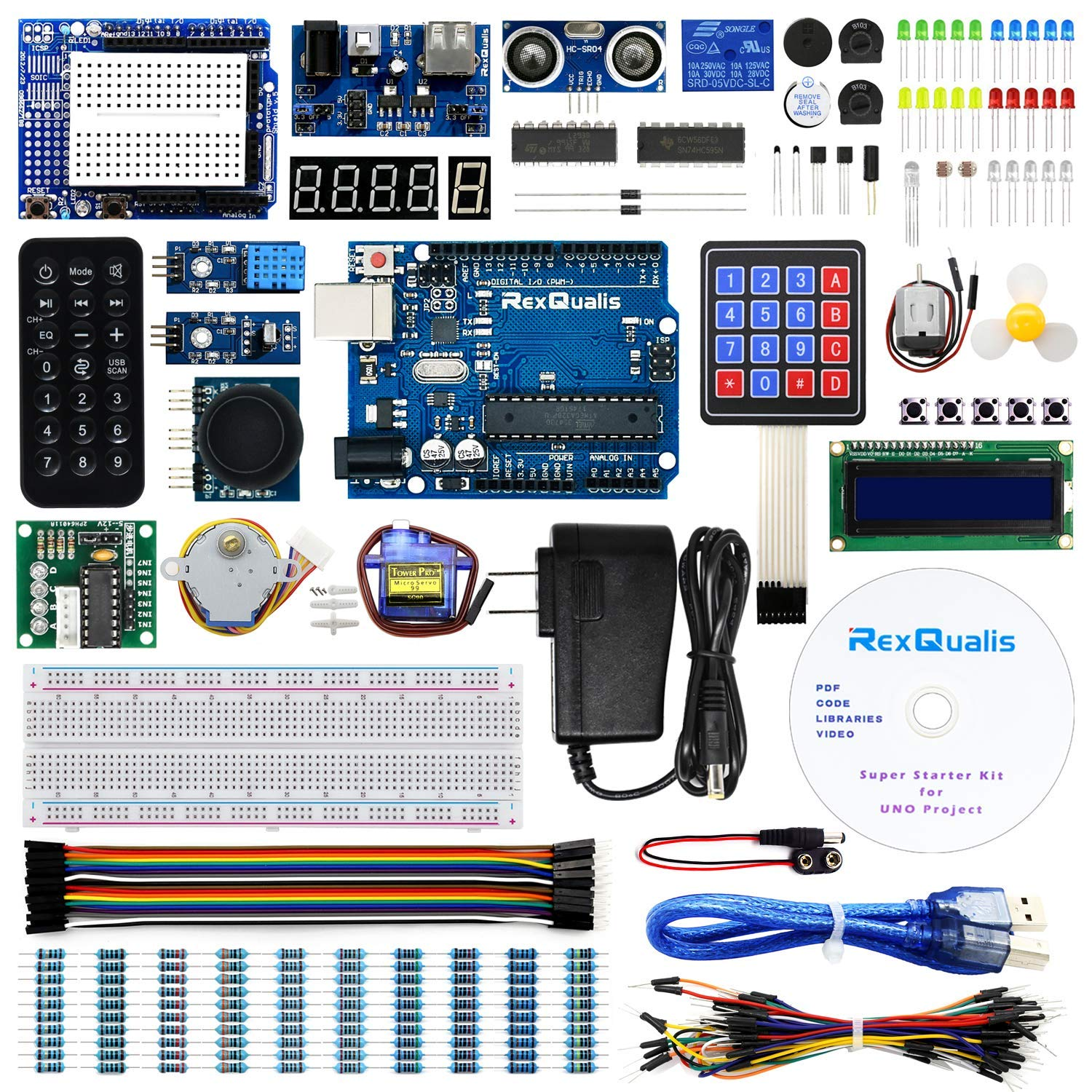 REXQualis Arduino UNO Project Super Starter Kit for Arduino w/UNO R3 Development Board, LCD1602, Membrane Switch, Servo, Stepper Motor, Power Supply Adapter, DHT11, IR Receiver, Detailed Tutorial