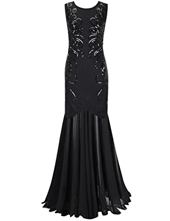 Amazon Prettyguide Women 1920s Ball Gown Sequin Long Evening