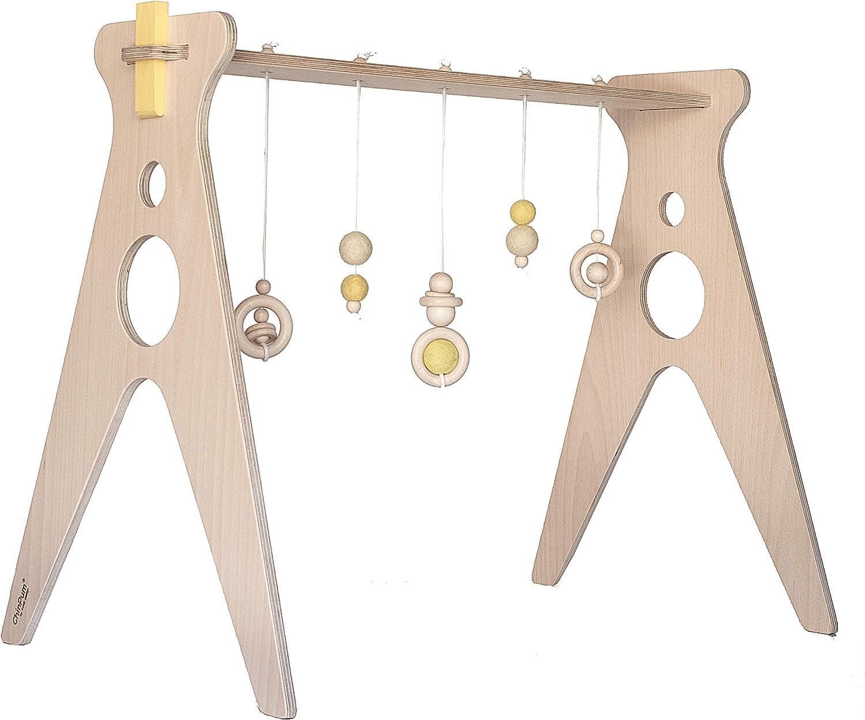 Gimnasio para bebés de madera ChinPum (Amarillo)