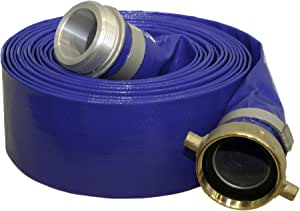 Abbott Rubber 1147-4000-25 Reinforced Blue PVC Lay Flat 4-Inch by 25-Feet Water Discharge Hose with 4-Inch Threaded Couplings